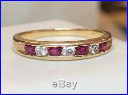 Estate Vintage 14k Gold Natural Genuine Red Ruby & Diamond Band Ring Wedding