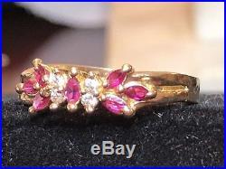 Estate Vintage 14k Gold Pink Sapphire Gemstone Band Ring Wedding Gemstone Floral