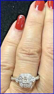 Estate Vintage 14k White Gold Diamond Ring Designer Signed Lj Engagement Wedding
