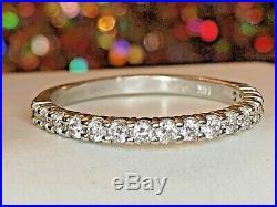 Estate Vintage 14k White Gold Genuine Natural 17 Diamond Ring Wedding Band