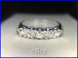 Estate Vintage 14k White Gold Round Diamond Wedding Band Ring 1/4 ct
