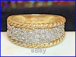 Estate Vintage 14k Yellow Gold Genuine Diamond Wedding Band Ring Anniversary