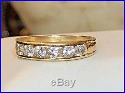 Estate Vintage 14k Yellow Gold Genuine Natural 6 Diamond Ring Wedding Band