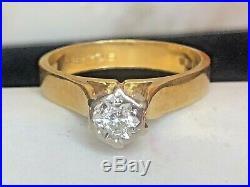 Estate Vintage 18k Gold Diamond Ring Engagement Wedding Signed Ias