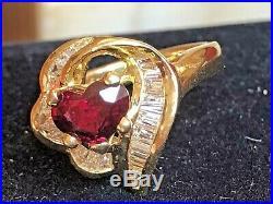 Estate Vintage 18k Gold Estate Diamond & Red Ruby Heart Ring Engagement Wedding