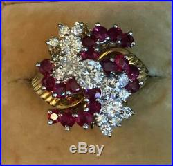 Estate Vintage 18k Yellow Gold Over DIAMOND & RUBY DINNER Cocktail RING 2.70Ct