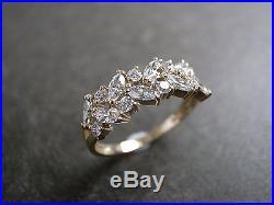 Estate Vintage Marquise Diamond Engagement Wedding Ring Set In 14k Yellow Gold