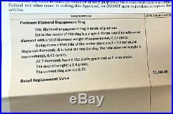 Estate Vintage Platinum Natural Diamond Engagement Ring With Appraisal Wedding
