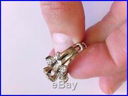 Estate Vtg Lady's 14K WG Diamond Engagement Ring with Insert Wedding Ring. 5.5 US