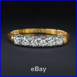 Excellent Cut F-g Vs Diamond Wedding Band 18k Yellow Gold Natural Vintage Estate