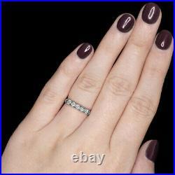 F Vs Old Cut Diamond Platinum Wedding Ring Stacking Band Vintage Antique 5 Stone