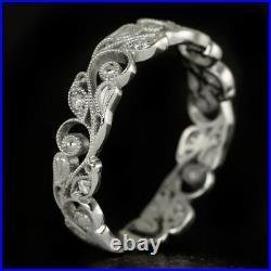 Filigree Art Nouveau Diamond Wedding Band Vintage Estate Floral Ring Engraved