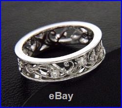 Filigree Diamond Wedding Band Unique Lace Ring Vintage Style 14K White Gold