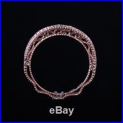 Filigree Vintage Band Diamond Engagement Wedding Fine Ring Solid 14k Rose Gold