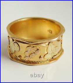 Fine Antique Victorian 18ct Gold Grape & Vine Motif Wedding Ring c1900 Size'M