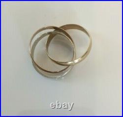 Fine Ladies Vintage 9ct Yellow, White, Rose Gold Russian Wedding Band Ring -sz N