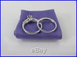 Fine Vintage 18k White Gold Diamond Wedding Ring Set