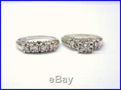 Fine vintage Diamond Engagement Wedding Set Ring 14Kt WG