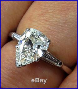 Gia 1.21ct Estate Vintage Pear Shaped Diamond Engagement Wedding Ring Platinum