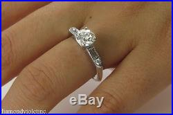 Gia 1.36ct Estate Vintage Round Diamond Engagement Wedding Ring 14k Wg