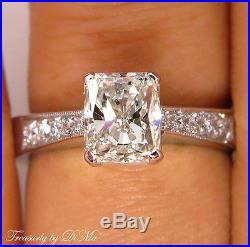 Gia 1.42ct Estate Vintage Radiant Diamond Engagement Wedding Ring 14k White Gold