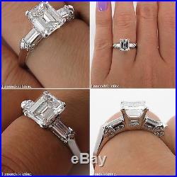 Gia 1.43ct Estate Vintage Emerald Cut Diamond Engagement Wedding Ring Platinum