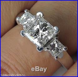 Gia 1.60ct Estate Vintage Princess Diamond Engagement Wedding Ring 14k Wg