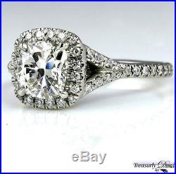 Gia 1.70ct Vintage Estate Cushion Diamond Engagement Wedding Ring Halo Platinum