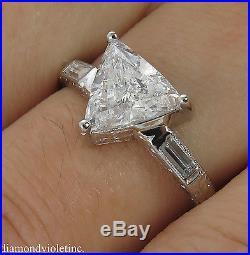Gia 1.76ct Antique Vintage Trillion Diamond Solitaire Engagement Wedding Ring Pl