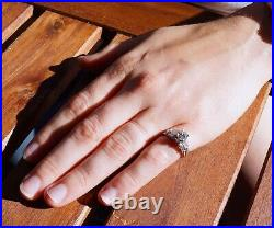 GIA 1 cttw Platinum Diamond Art Deco Wedding Engagement Ring Band Set Vintage