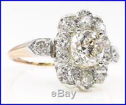 Gia 2.01ct Antique Vintage Old Euro Diamond Cluster Engagement Wedding Ring 18k