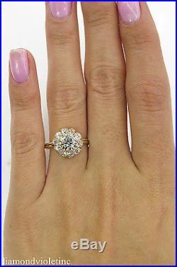 Gia 2.01ct Antique Vintage Round Diamond Cluster Engagement Wedding Ring 18k Yg