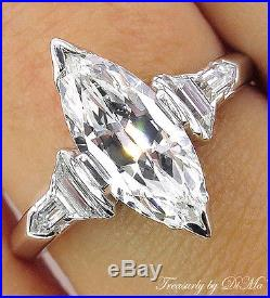 Gia 2.03ct Antique Vintage Deco Marquise Diamond Engagement Wedding Ring Plat