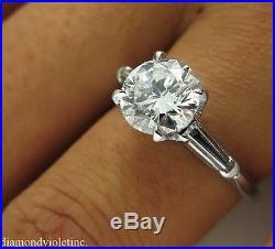 Gia 2.15ct Estate Vintage Round Diamond Engagement Wedding Ring Platinum