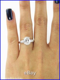 Gia 2.22ct Estate Vintage Oval Diamond Engagement Wedding Ring 14k White Gold
