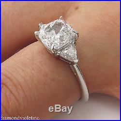 Gia 2.40ct Estate Vintage Cushion Diamond 3 Stone Engagement Wedding Ring Plat