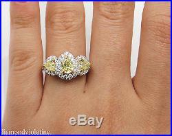 Gia 2.58ct Estate Vintage Fancy Yellow Pear Diamond Engagement Wedding Ring Plat