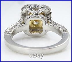 Gia 2.65ct Estate Vintage Fancy Yellow Radiant Diamond Engagement Wedding Ring