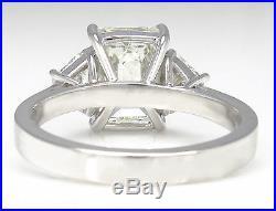 Gia 2.76ct Estate Vintage Emerald Diamond Engagement Wedding Ring Platinum