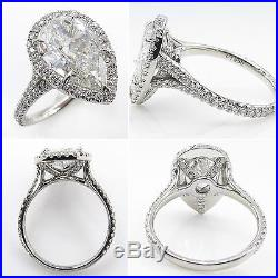 Gia 3.01ct Estate Vintage Pear Diamond Halo Engagement Wedding Ring Plat