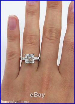 Gia 3 27ct Estate Vintage Asscher Cut Diamond Engagement