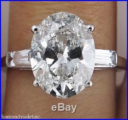 Gia 3.44ct Estate Vintage Oval Diamond Engagement Wedding Ring 14k White Gold