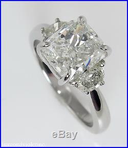 Gia 3.50ct Estate Vintage Cushion Diamond 3 Stone Engagement Wedding Ring Plat