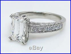 Gia 3.80ct Estate Vintage Emerald Cut Diamond Engagement Wedding Ring Set Plat