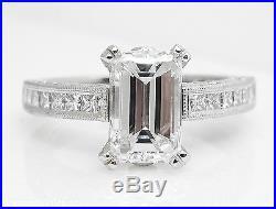 Gia 3.80ct Estate Vintage Emerald Diamond Engagement Wedding Ring Set Platinum