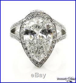 Gia 4.61ct Estate Vintage Pear Diamond Engagement Wedding Ring Halo Platinum