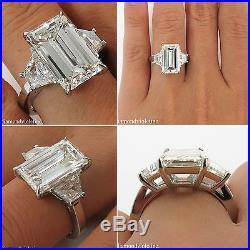 Gia 5.52ct Estate Vintage Emerald Cut Diamond Engagement Wedding Ring Platinum