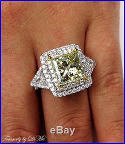 Gia 6.81ct Estate Vintage Fancy Yellow Princess Diamond Engagement Wedding Ring