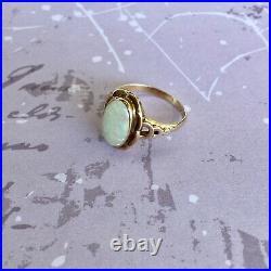 Genuine 14k Solid Rose Gold Vintage White Opal Ring Size 6.25 2.24g