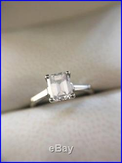 Gia 0.86ct Estate Vintage Emerald Cut Diamond Engagement Wedding Ring F Si1